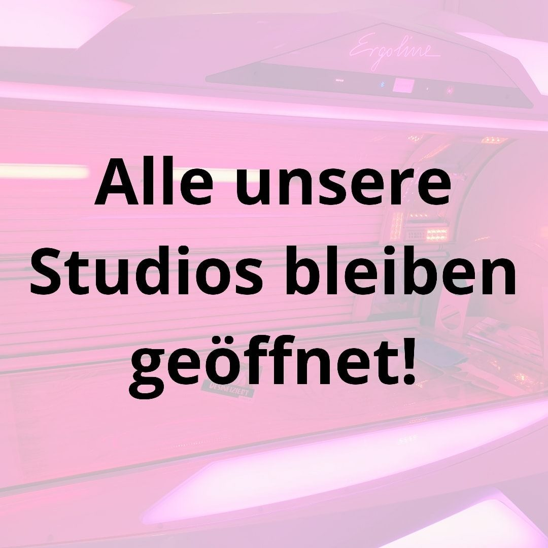 Sonnenstudio und Solarium speedSUN Beautylounge - Wir haben weiterhin geöffnet